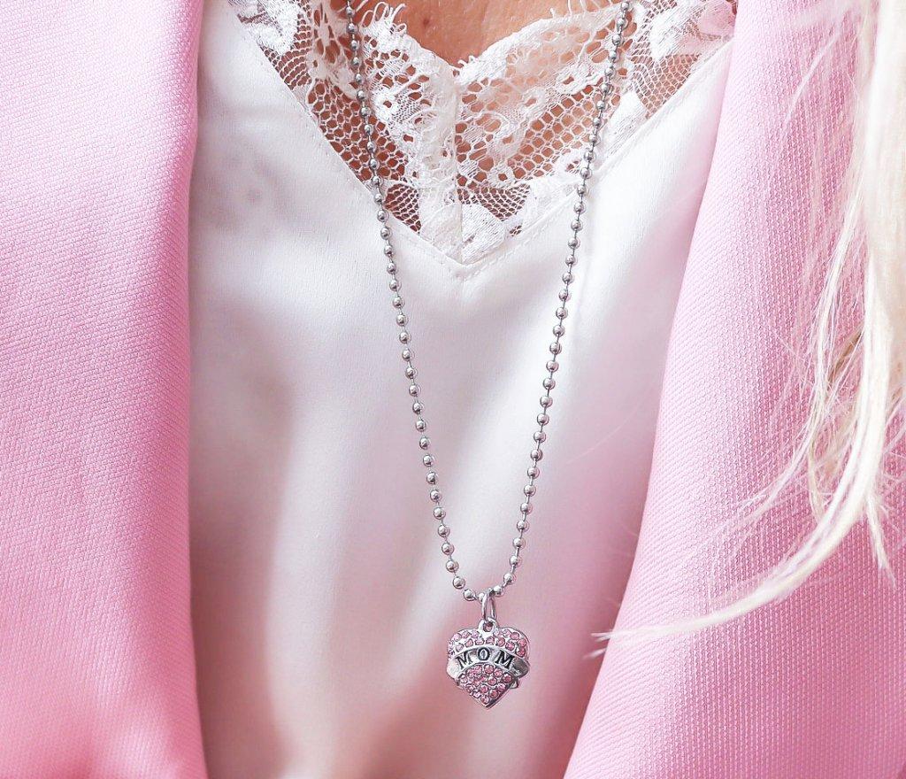 Alla hjärtans dag halsband Halsband hjärta present bröstcancer Mamma-halsband  mors dag 1e17158f5496e